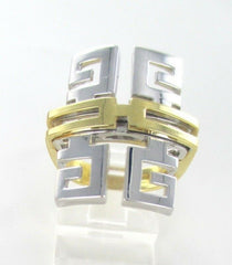 14K SOLID YELLOW & WHITE GOLD RING GREEK KEY COCKTAIL MADE IN ITALY (13850112)