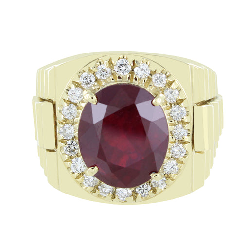 MEN 14KT RUBY & DIAMOND RING SIZE 10
