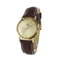 OMEGA 18K GOLD & LEATHER VINTAGE WATCH