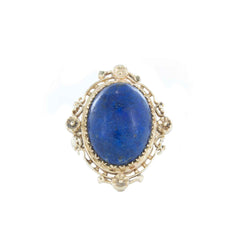 LAPIS BLUE OVAL STONE WOMENS RING 14KT YELLOW GOLD SIZE 8.5