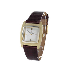 OMEGA 14K GOLD & LEATHER WATCH
