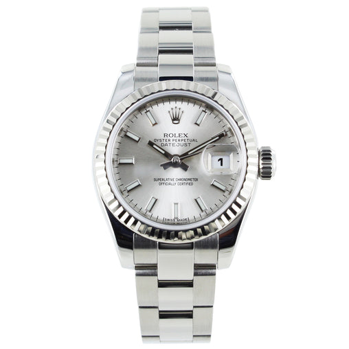 LADIES ROLEX DATEJUST 179174 STAINLESS STEEL FLUTED BEZEL