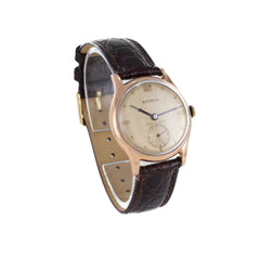 BENRUS 14K GOLD LEATHER VINTAGE WATCH