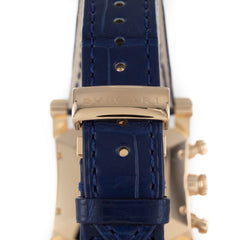 BVLGARI ASSIOMA 18K ROSE GOLD BLUE LEATHER WATCH