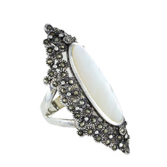 STERLING SILVER INLAY MOTHER OF PEARL AND MARCASITE STONE RING