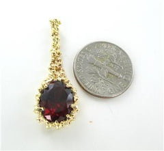10K SOLID YELLOW GOLD PENDANT NUGGET RED STONE PENDANT DROP FINE JEWELRY