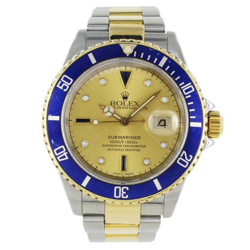 ROLEX SUBMARINER 16613 TWO TONE DIAMOND DIAL AND BLUE BEZEL