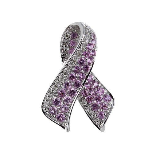 14KT WHITE GOLD, DIAMONDS & PINK SAPPHIRE CANCER PIN