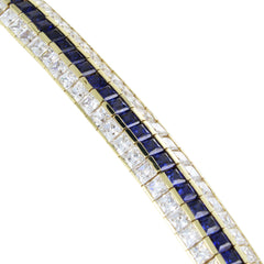 14 KT GOLD BRACELET WITH BLUE & WHITE STONES