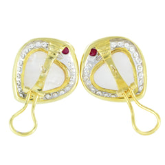 18KT YELLOW GOLD DIAMOND & HEART SHAPE MABE PEARL EARRINGS