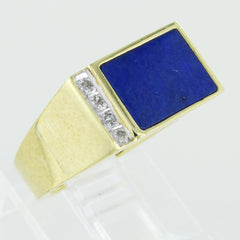 GENTS 14KT GOLD WITH DIAMONDS & LAPIS SIZE 6