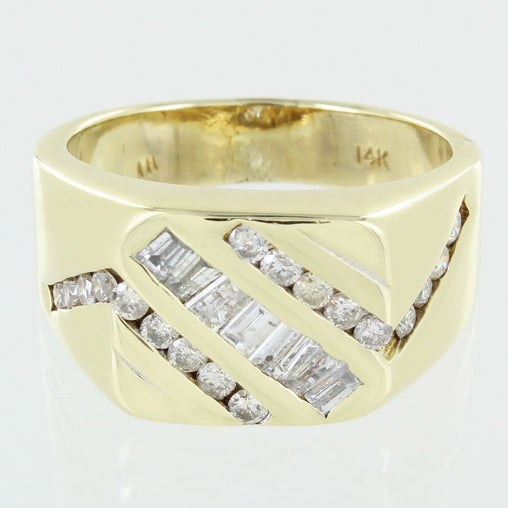 GENTS 14KT GOLD CLUSTER DIAMOND RING SIZE 12