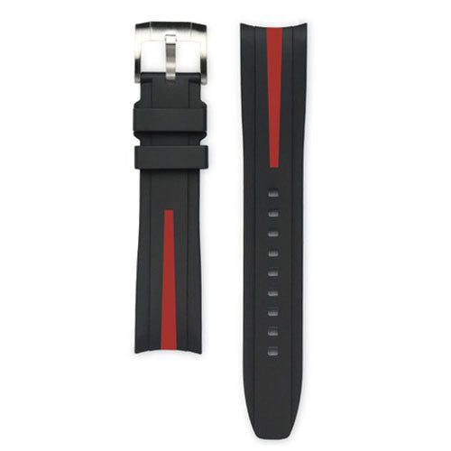 EVEREST BLACK & RED STRIPE RUBBER STRAP FOR ROLEX WATCH
