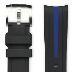 EVEREST BLACK & BLUE STRIPE RUBBER STRAP FOR ROLEX WATCH