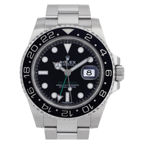 ROLEX GMT-MASTER II BLACK DIAL GREEN HAND BOX & PAPERS