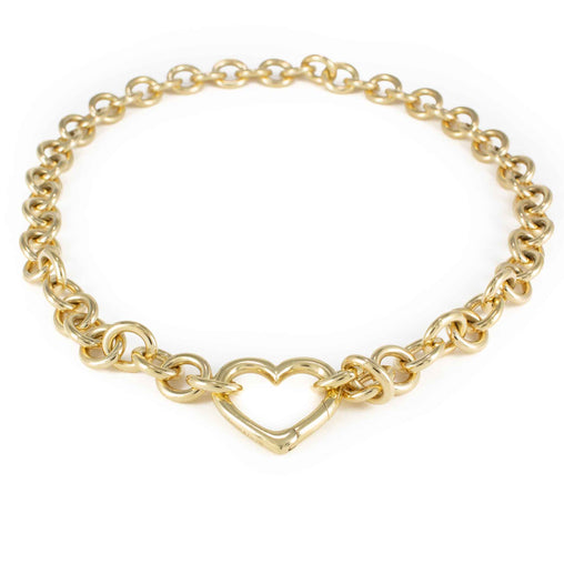 TIFFANY HEART PENDANT NECKLACE 18K YELLOW GOLD