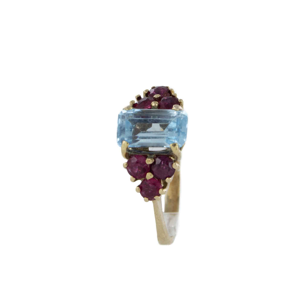 RUBY & AQUAMARINE RING 14K YELLOW GOLD SIZE 5.5