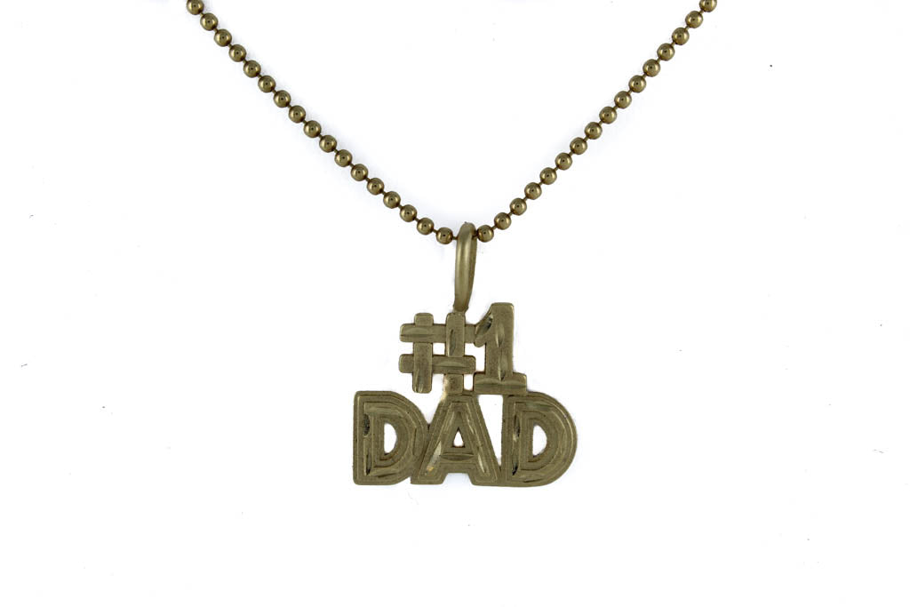 "DESIGN BEAD LINK CHAIN 14 KT YELLOW GOLD 20"" LENGTH WITH #1 DAD GOLD PENDANT"