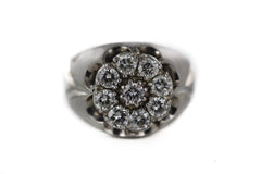9 DIAMONDS RING 14K WHITE GOLD SIZE 12
