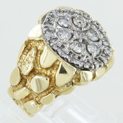 MENS 14KT CLUSTER DIAMOND RING SIZE 7.5