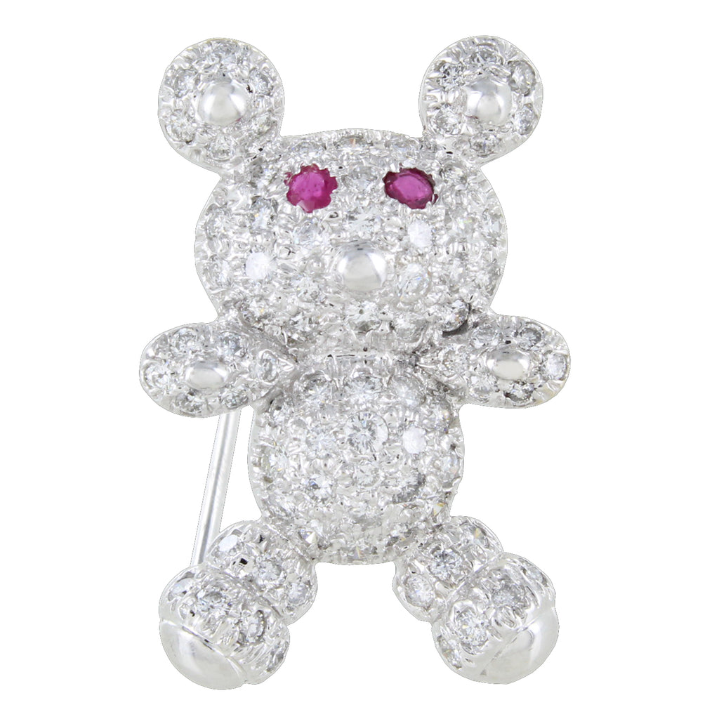 14KT WHITE GOLD BEAR WITH DIAMONDS & RUBIES PIN