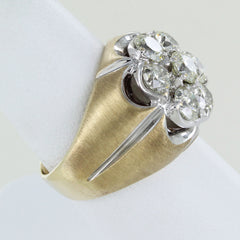 10KT MENS GOLD DIAMOND CLUSTER RING SIZE 8