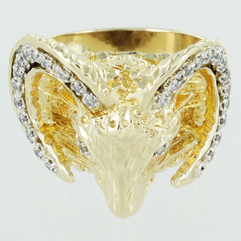 GENTS 14KT GOLD DIAMONDS RAMS HEAD RING SIZE 8.5