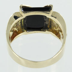 GENTS 10KT TRI-COLOR GOLD &  BLACK ONXY EAGLE RING SIZE 9