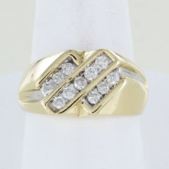 MEN 14KT YELLOW GOLD TRIPLE DIAMOND ROW CLUSTER RING