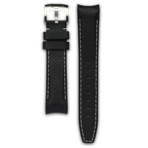 Everest Black & White Leather Stitch Strap For Rolex Watch