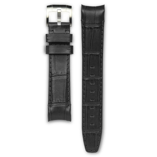 Everest Black Leather Strap For Rolex Watch