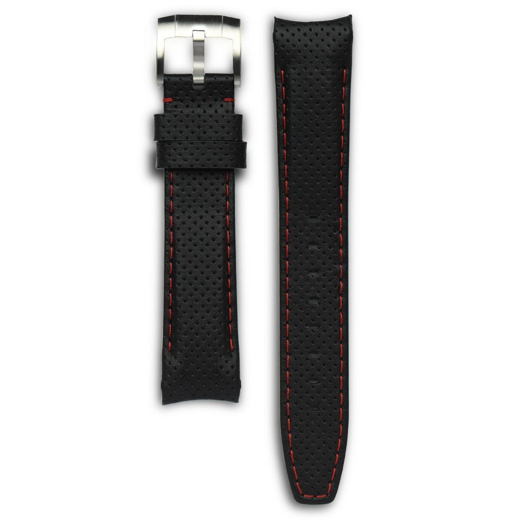 Everest Black & Red Leather Stitch Strap For Rolex Watch