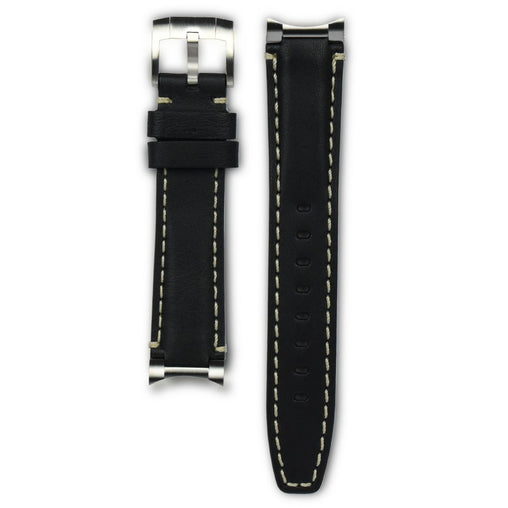 Everest Black & White End Link Leather Strap For Rolex Watch