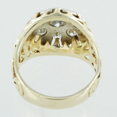 GENTS 14KT GOLD DIAMOND CLUSTER RING SIZE 8.5
