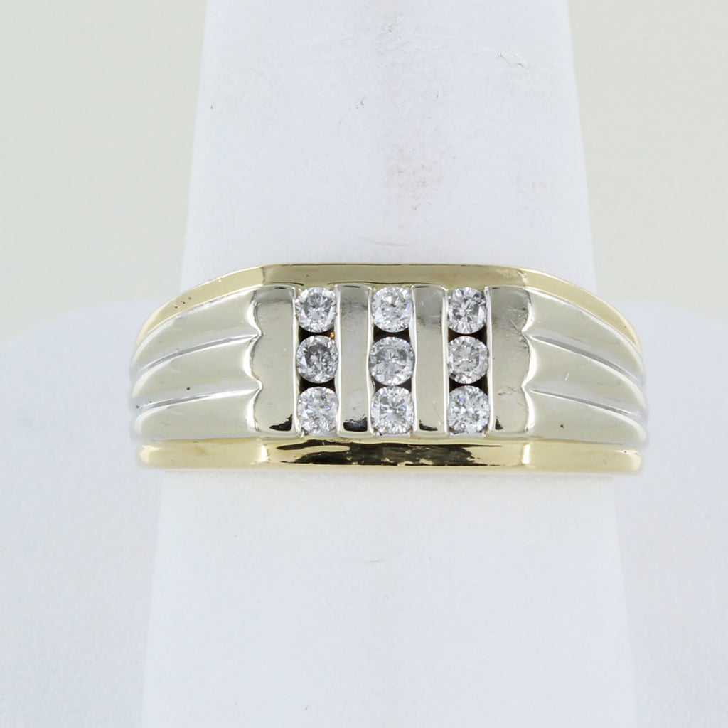 MEN 14KT 2 TONE GOLD DIAMOND COCKTAIL RING SIZE 10.5