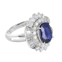 LADIES WHITE GOLD DIAMONDS & SAPPHIRE RING