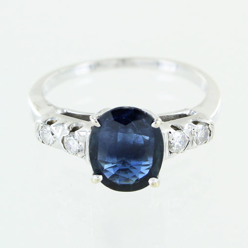 LADIES 14 KT WHITE GOLD SAPPHIRE & DIAMOND RING SIZE 6