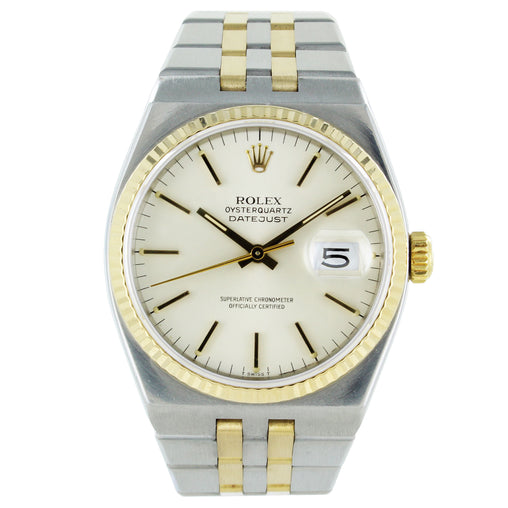 ROLEX OYSTERQUARTZ DATEJUST STEEL YELLOW GOLD WATCH 17013