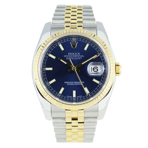 ROLEX DATEJUST 116233 36MM STAINLESS STEEL & 18KT GOLD BLUE DIAL