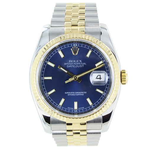 ROLEX DATEJUST 116233 YELLOW GOLD & STEEL FLUTED BEZEL