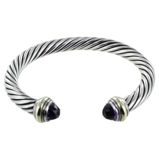 DAVID YURMAN CLASSIC CABLE BRACELET WITH GOLD ACCENTS AND AMETHYST