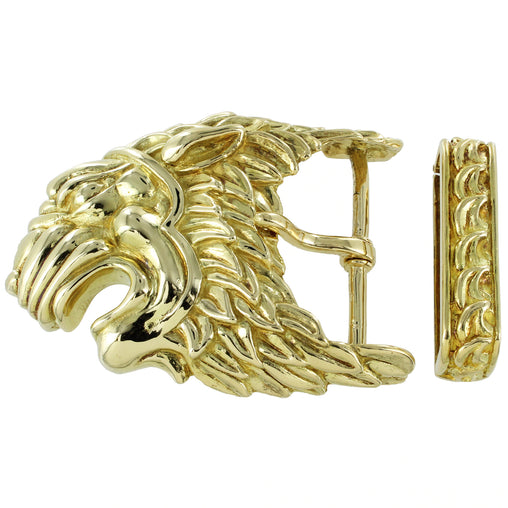 DAVID WEBB 18K SOLID YELLOW GOLD VINTAGE LION BELT BUCKLE 62.0 GRAMS