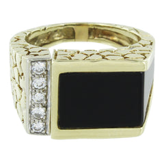GENTS 14KT GOLD BLACK ONYX DIAMOND RING NUGGET DESIGN SIZE 9