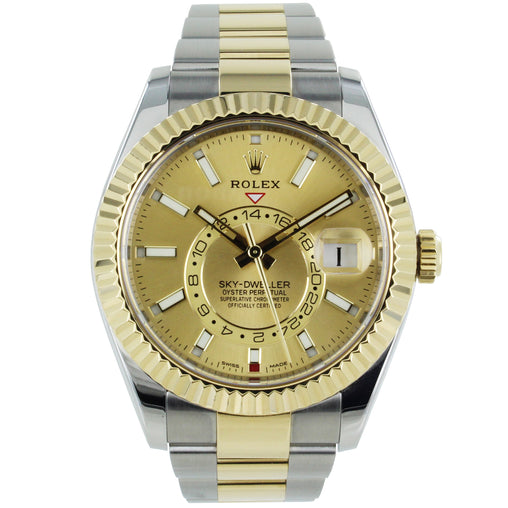 ROLEX SKY-DWELLER OYSTER PERPETUAL 18KT GOLD & STAINLESS STEEL CHAMPAGNE DIAL