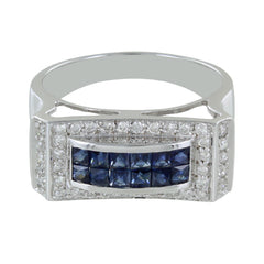 LADIES 14KT GOLD DIAMONDS & SAPPHIRE RING SIZE 8