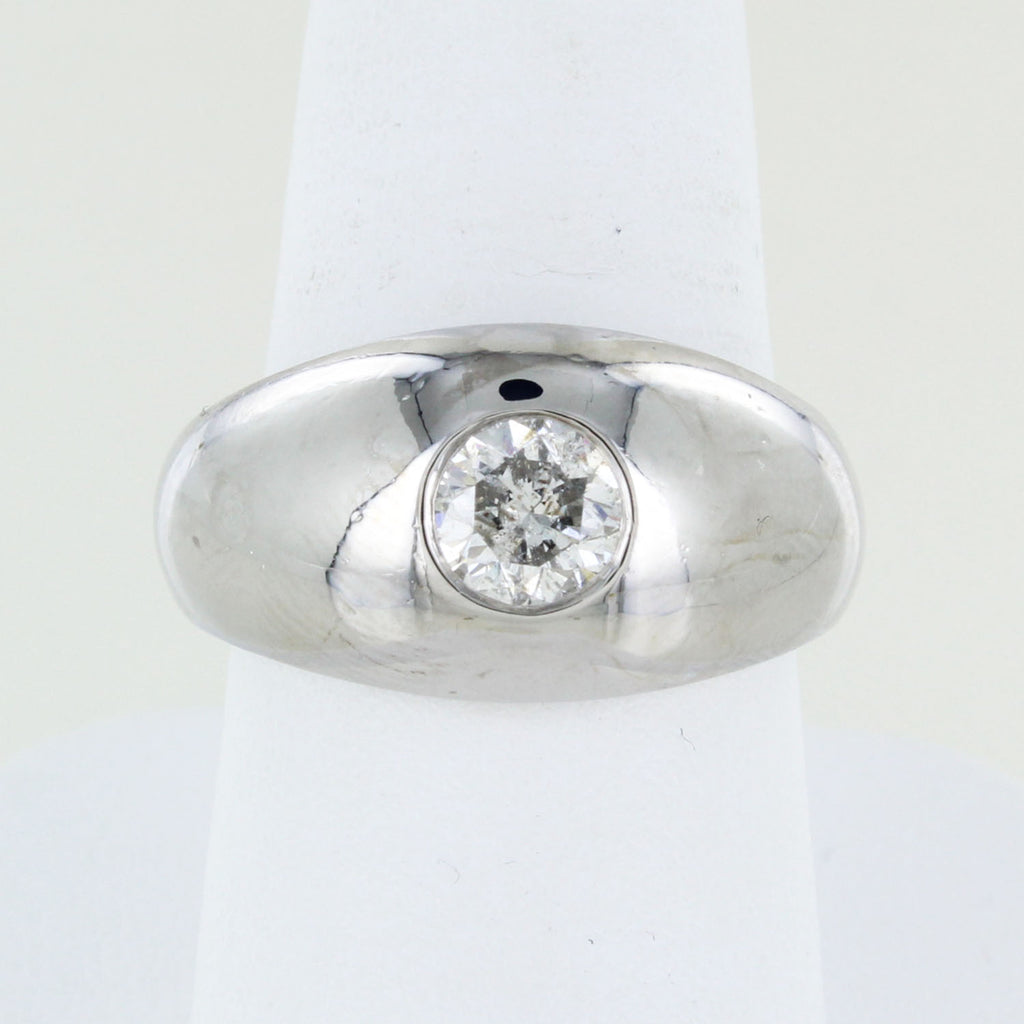 MANS 14KT WHITE GOLD SOLITAIRE DIAMOND RING SIZE 9.5
