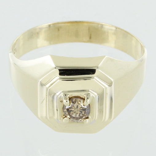 GENTS 10 KT SOLITAIRE DIAMOND RING SIZE 11.5