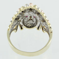 GENTS 14KT GOLD CHIEF INDIAN HEAD RING SIZE 11