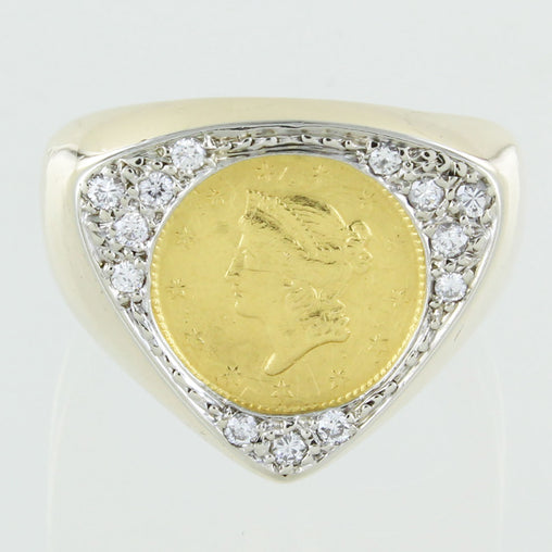 GENTS 14 KT GOLD & DIAMOND COIN RING SIZE 7.5