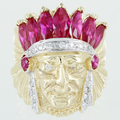 GENTS 14 KT GOLD INDIAN CHIEF HEAD DIAMONDS &  SYNTHETIC RUBIES RING SIZE 10